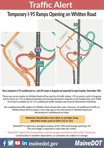 Traffic Map 95.Maine Transportation Officials Traffic Detour In Augusta For Bridge