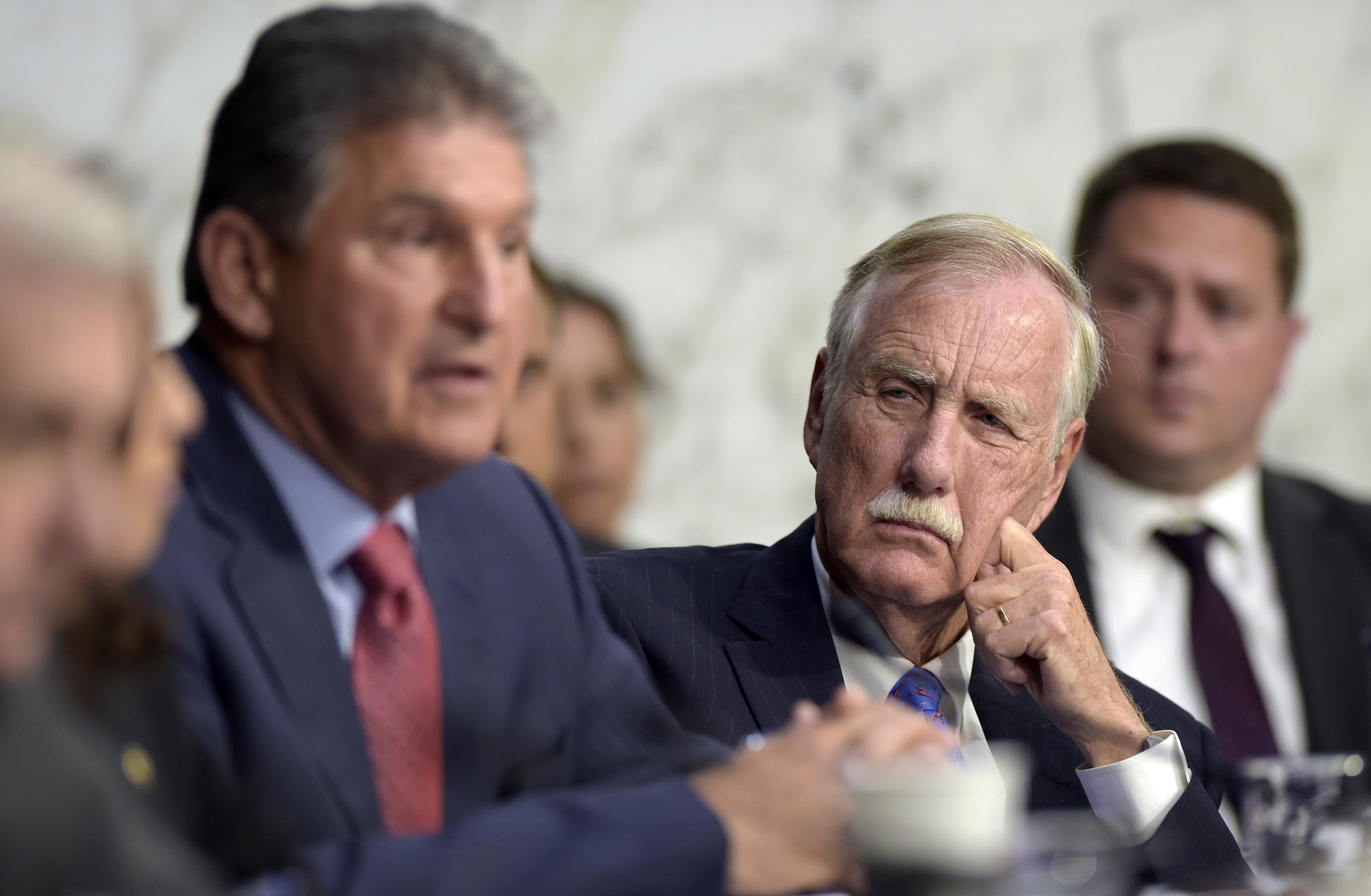 U.S. Sen. Angus King listens during a Senate Intelligence Committee hearing on Capitol Hill in Washington Wednesday