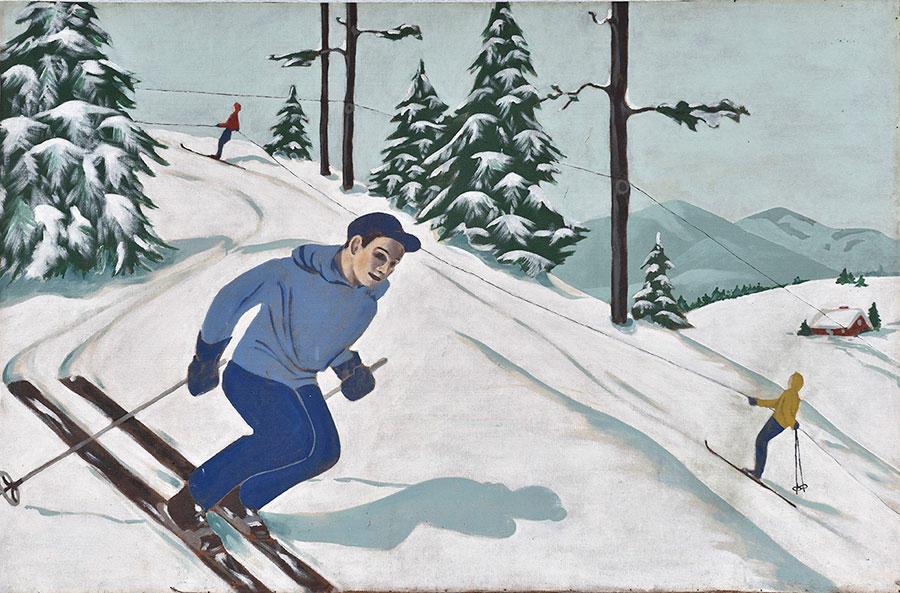 Oil painting of the original Spruce Mountain. c. 1959. Artist: Fonnie Austin