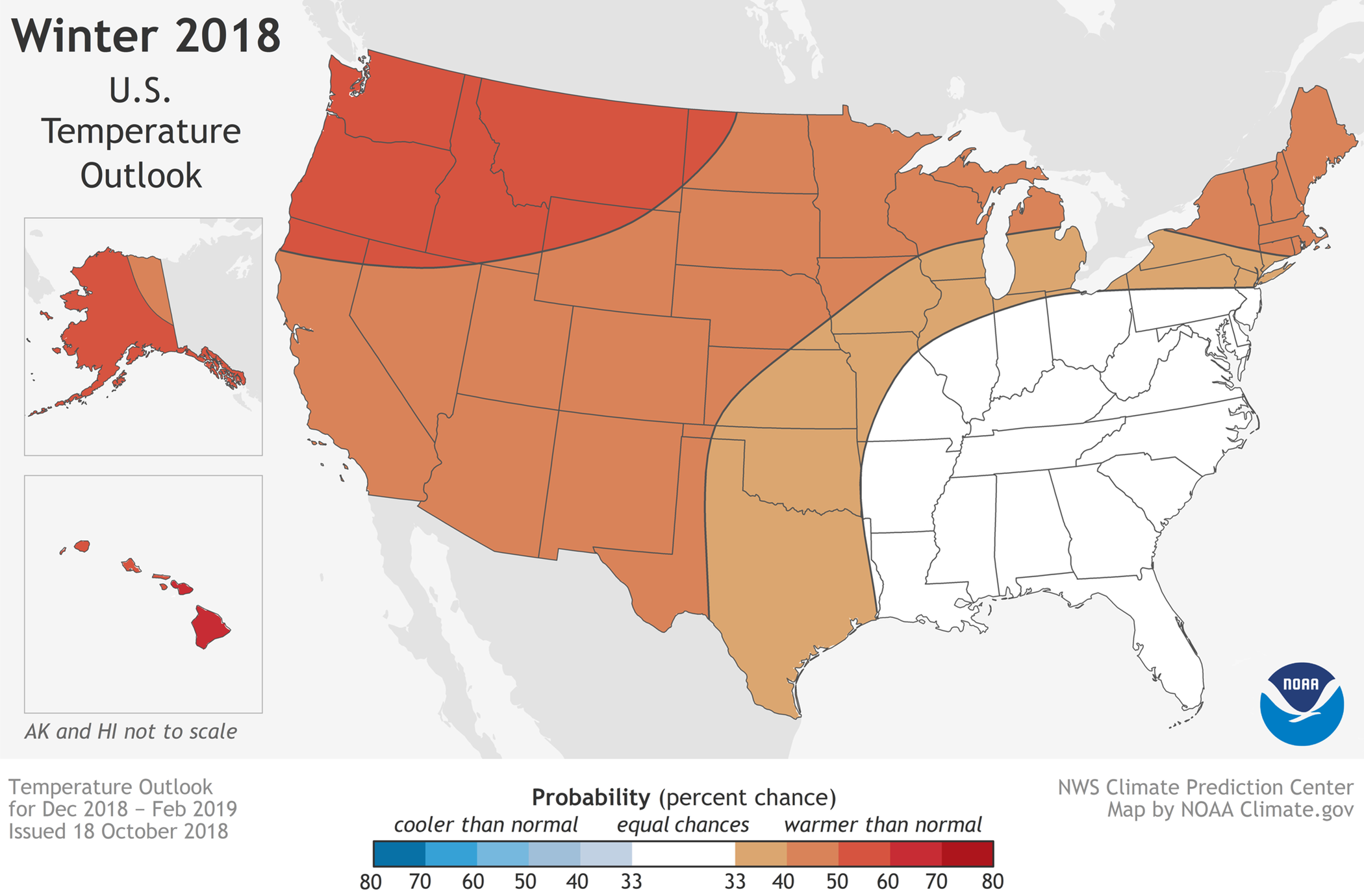 NOAA's winter forecast for JH looks warm and dry