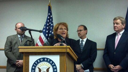 Sen. Heidi Heitkamp (D-ND) and coal industry leaders talk about her new coal bill at a Bismarck news conference.