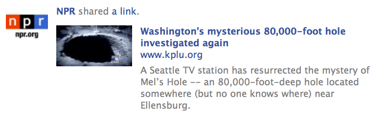 Example of a KPLU story geofocused on NPR's Facebook page.