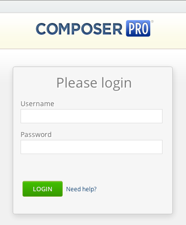 Composer's new login screen.