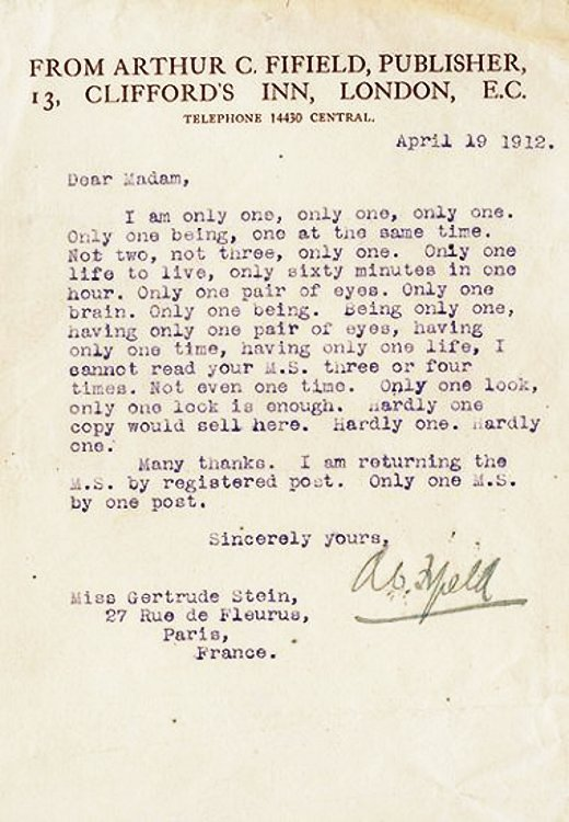 Rejection Letters | From Gertrude Stein To Andy Warhol Dramatic Readings Of Famous