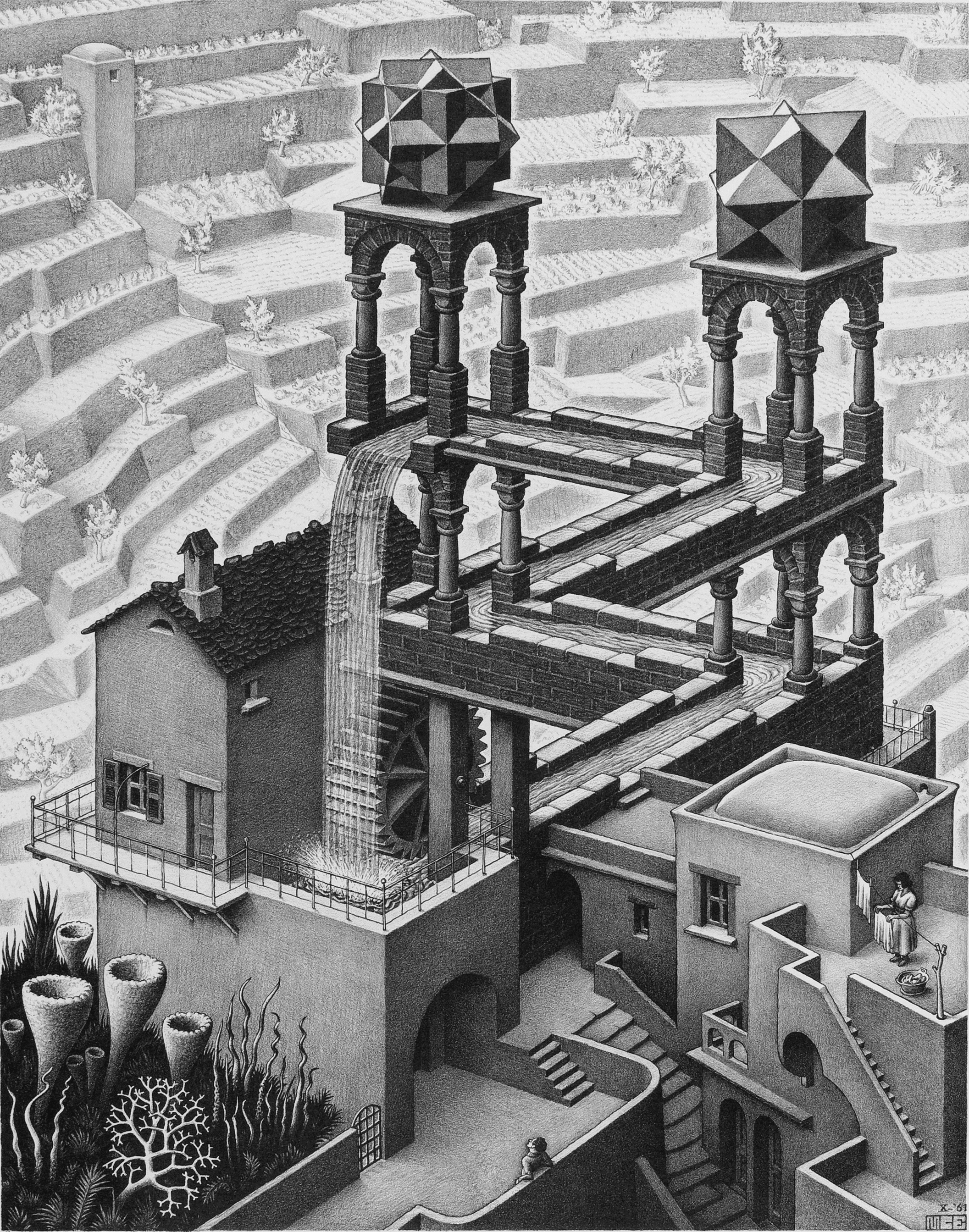 escher waterfall Take a look at this amazing escher's waterfall brought to life illusion browse and enjoy our huge collection of optical illusions and mind-bending images and videos.