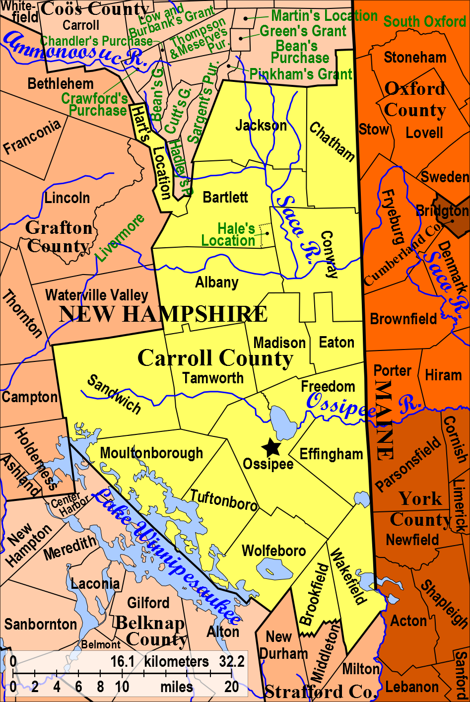 Bank Freezes Carroll Countys Credit Line As M Budget Shortfall - New hampshire counties map