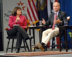 Charlie Bass and Annie Kuster at a debate during the 2012 election