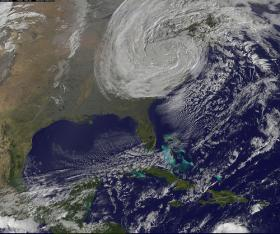 Hurricane Sandy was downgraded to a Tropical Cyclone after making landfall over the East Coast