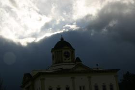 The sky over the former Dow Academy in Franconia nicely demonstrated the prediction of a mix of sunshine and heavy rain on Tuesday.