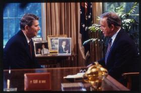 President Ronald Reagan speaking to Senator Warren Rudman in the oval office, 1986.