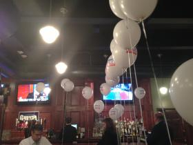 Balloons and music are the early evening themes at the Guinta camp
