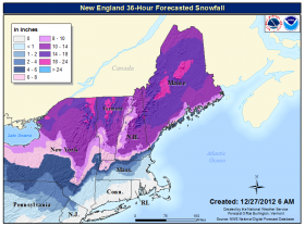 The snowfall forecast out of the National Weather Service as of 6 am this morning