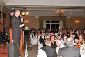 Comedian Jimmy Dunn performs at a Heart Association event in Manchester