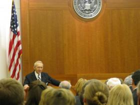 Former Supreme Court Justice David Souter remembers his friend Warren Rudman inside the Federal Courthouse in Concord that bears his name.