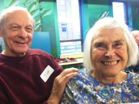 Tom and Betty Puorro of Exeter. The two were set up on a blind date in 1948, and married two years later.