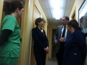 Sen. Jeanne Shaheen meets with the staff of Saving People's Smiles, a nonprofit dental clinic in Concord.