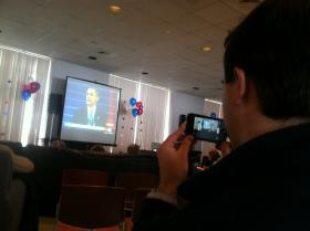 Students and staff gathered at Saint Anselm College on Monday to watch President Barack Obama's inauguration.