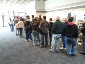 The line outside the gun show in Manchester last weekend stretched all the way around the expo center.