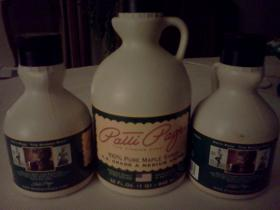 Bottles of Patti Page syrup.