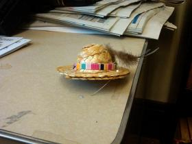 A hat-shaped party favor at a Granny D Remembrance Day event at the State House, March 10, 2011.