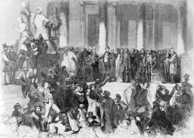 Engraving of Franklin Pierce taking the oath of office in 1853.