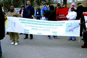 Many low income or minority groups have learned to raise their voices and stand up against the discriminatory locating of hazardous waste sites, polluting factories and other sources of bad air quality and compromised waterways and soils. Pictured: an environmental justice rally in the Rogers-Eubanks community of North Carolina.