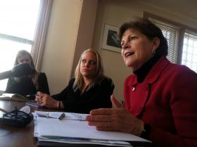 Sen. Jeanne Shaheen meets with the New Hampshire Coalition Against Domestic Violence in Concord on Friday.