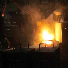 Workers cast firearms parts at Sturm, Ruger's Newport foundry