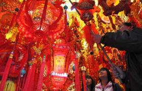 The traditional red lanterns of Chinese New Year
