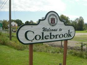 A welcome sign for Colebrook, New Hampshire. In 1997 four people were killed by a shooter in the small northern town, but many residents say the tragedy has not defined the way they look at firearms.