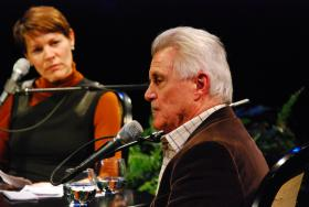 John Irving on stage with Virginia Prescott at The Music Hall in Portsmouth.