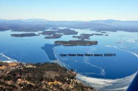 This NH Civil Air Patrol photo taken on 02/06/2013 shows open water near Welch Island on Lake Winnipesaukee.
