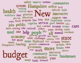 Here's the word cloud from Governor Maggie Hassan's budget address this morning.
