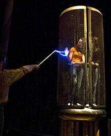 Two people inside a Faraday Cage.