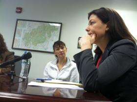 Sen. Kelly Ayotte meets with business leaders in Manchester on Thursday.