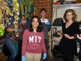 In this photo: Meghan Dezurick, Priyanka Satpute, Christopher Jones and Madeline Doctor in the greenhouse/lab at Nashua North. Not pictured: Theresa Inzerillo and Craig Hammond.