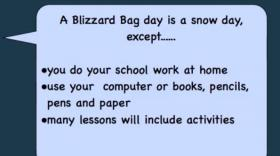 A video on the Governor Wentworth School District website explains to students and parents what a blizzard bag day is.