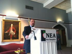 NEA President Scott McGilvray at the press conference hosted on Monday.