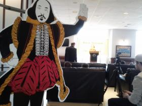 Organizer Prof. Gary Bouchard has used the same cardboard cut-out of Shakespeare since the event's inception. It resides in his office for the other 364 days of the year.