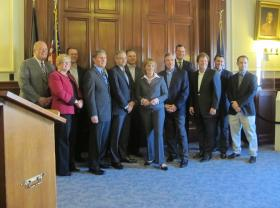 Funders and recipients gathered with Governor Hassan at the State House.