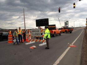 The Sarah Long Bridge in Portsmouth was blocked off on Monday after a tanker collided with it.