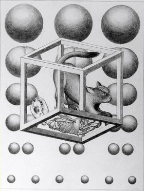 Schroedinger's cat thought experiment as a mind bending illustration. If we apply this logic to a Quantum Internet, maybe it means that when we use it we are both wasting time AND saving it!