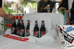 The Redhook Lobstah Lager table was the centerpiece to the May 26 Kickoff event.