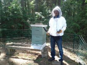 Reporter Ryan Lessard playing the part of beekeeper.