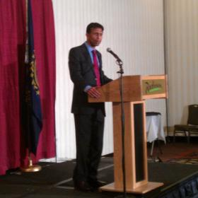 Louisiana Governor Bobby Jindal speaking at a fundraiser in Manchester.