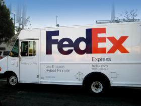 Pictured: A FedEx hybrid electric delivery van.