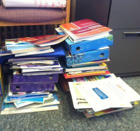 """This stack of samples all came to the Concord School District in the course of a week. Districts have been barraged by materials from publishers rushing to profit from the market the Common Core has opened up. The SAU's Donna Palley says the district may make """"some selective purchases."""""""