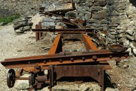 Rusty remains at an old lead smelting mill.