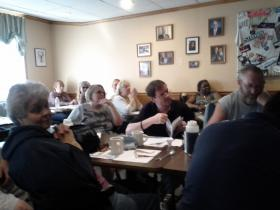 Rimmon Heights watch group at their monthly meeting in Chez Vachon.