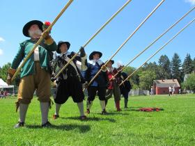 The Salem Trayned Band shows off their Pike drill at the Strawbery Banke Museum on July 4